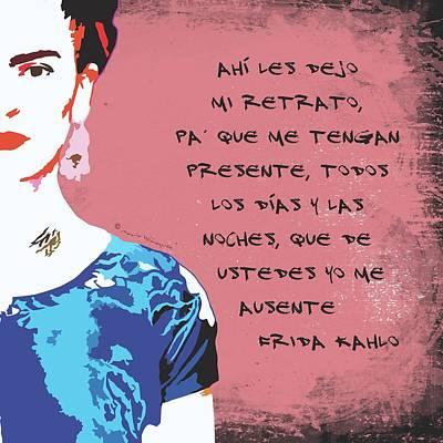 Mexicano Digital Art - Ahi Les Dejo Mi Retrato Frida Kahlo Portrait In Coral Pink Background by Mario Velazquez
