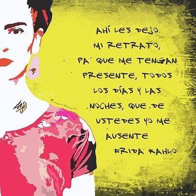 Mexicano Digital Art - Ahi Les Dejo Mi Retrato Frida Kahlo Portrait In Golden Yellow Background by Mario Velazquez