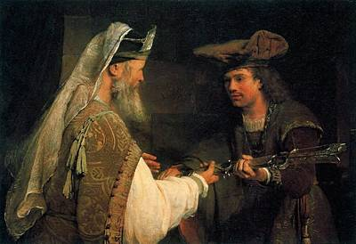 Giving Painting - Ahimelech Giving by Arent de Gelder