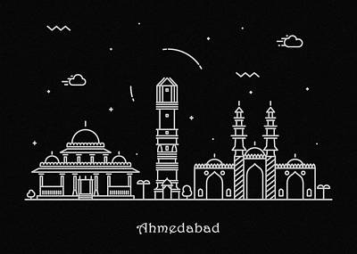 Abstract Landscape Drawing - Ahmedabad Skyline Travel Poster by Inspirowl Design