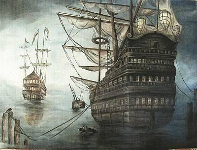 Of Pirate Ships Painting - Ahoy, Matey by Faye Tracy