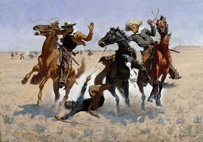 University Painting - Aiding A Comrade by Frederic Remington