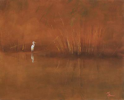 Painting - Egret by Attila Meszlenyi