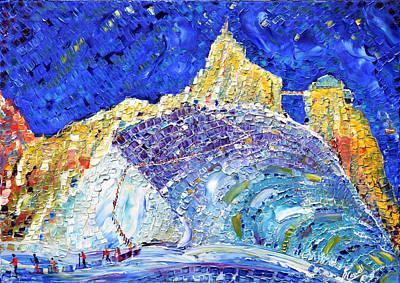 Chamonix Painting - Aiguille Du Midi Glacier  Chamonix by Pete Caswell