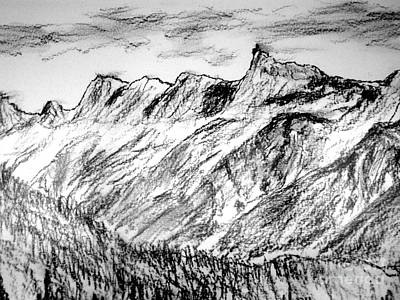 Drawing - Aiguille Du Midi by Michael Canning
