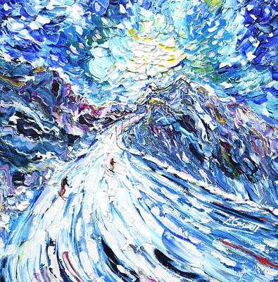 Painting - Aiguille Rouge Piste by Pete Caswell
