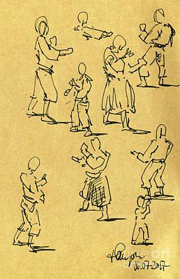 Aikido Motion Studies Japanese Sport Fountain Pen Ink Drawing Art Print