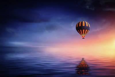 Photograph - Air Ballon At Lake by Bess Hamiti