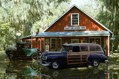 Air Brushed Woody At Country Store Art Print by John Breen
