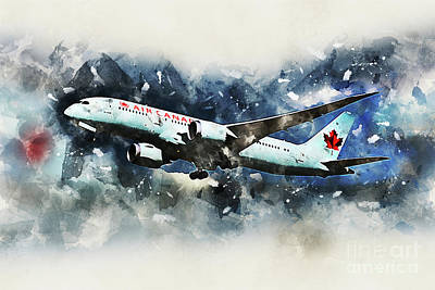 Boeing 787 Dreamliner Digital Art - Air Canada Boeing 787-8 Dreamliner by J Biggadike