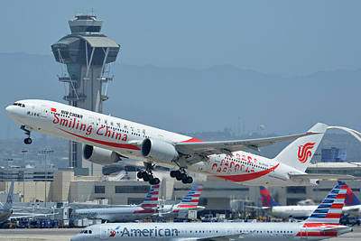 Print featuring the photograph Air China Boeing 777-39ler B-2035 Smiling China Los Angeles International Airport May 3 2016 by Brian Lockett