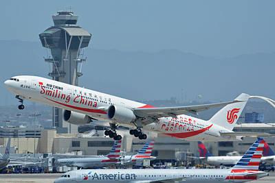 Photograph - Air China Boeing 777-39ler B-2035 Smiling China Los Angeles International Airport May 3 2016 by Brian Lockett