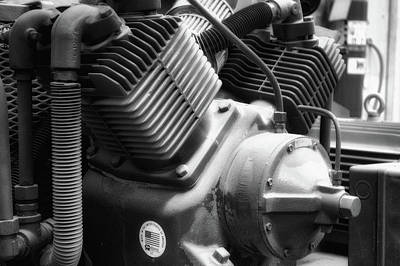 Air Compressor Bw Art Print