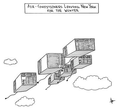 Winter Sky Drawing - Air Conditioners Leaving New York For The Winter by Andrew Hamm