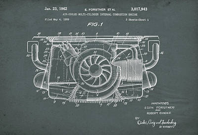 Digital Art - Air Cooled Porsche Engine Patent by David Holm