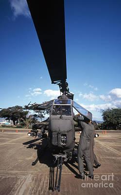 Air Crewmen Secure An Ah-1 Cobra Attack Art Print