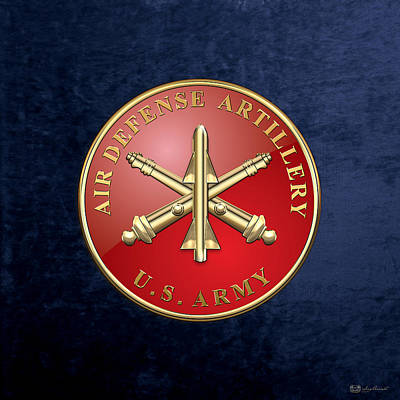 Air Defense Artillery - Ada Branch Insignia Over Blue Velvet Original by Serge Averbukh
