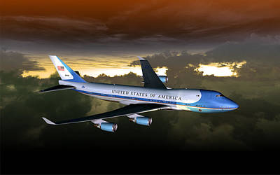 Digital Art - Air Force One 28.8x18 by Mike Ray