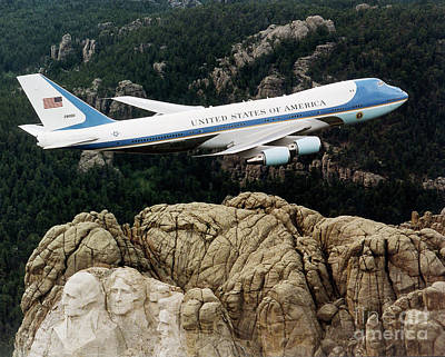 State Of South Dakota Painting - Air Force One Mount Rushmore Fly Over by Pd