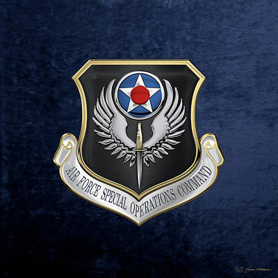U.s. Air Force Digital Art - Air Force Special Operations Command -  A F S O C  Shield Over Blue Velvet by Serge Averbukh