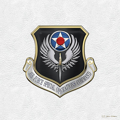 U.s. Air Force Digital Art - Air Force Special Operations Command -  A F S O C  Shield Over White Leather by Serge Averbukh