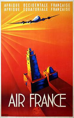 Mixed Media - Air France - Afrique Occidentale - Afrique Equatoriale 1947 - Retro Travel Poster - Vintage Poster by Studio Grafiikka