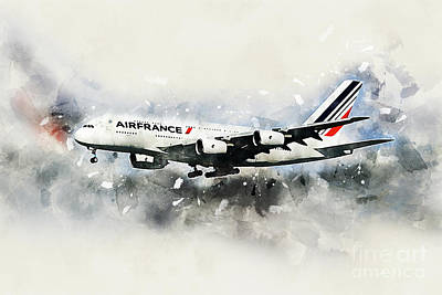 Farm Life Paintings Rob Moline - Air France Airbus A380-800 by Airpower Art