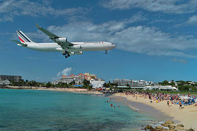 Photograph - Air France At St Maarten Airport by David Gleeson