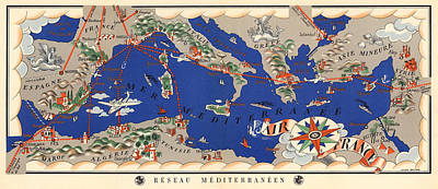 Royalty-Free and Rights-Managed Images - Air France - Flying Routes Around the Meditteranean Sea - Vintage Illustrated Map by Studio Grafiikka
