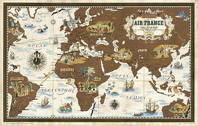 Mixed Media - Air France - Historical Illustrated Map Of The World - Lucien Boucher - Cartography by Studio Grafiikka