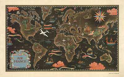 Mixed Media - Air France - Historical Illustrated Map Of The World - Pictorial Map - Cartography by Studio Grafiikka