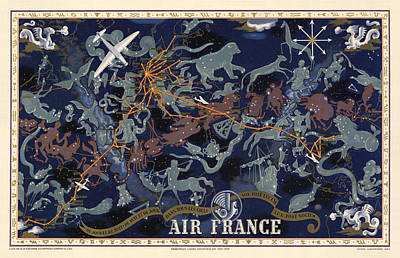 Drawing - Air France - Illustrated Poster Of The Constellations - Blue - Celestial Map - Celestial Atlas by Studio Grafiikka