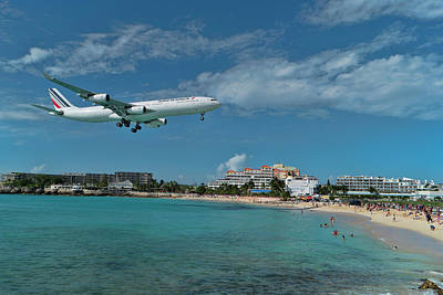 Photograph - Air France Landing At St. Maarten Airport. by David Gleeson