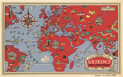 Royalty-Free and Rights-Managed Images - Air France - Vintage Illustrated Map of the World by Lucien Boucher - Cartography by Studio Grafiikka