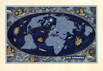 Mixed Media - Air France - Vintage Illustrated World Map - Lucien Boucher - Air Routes by Studio Grafiikka