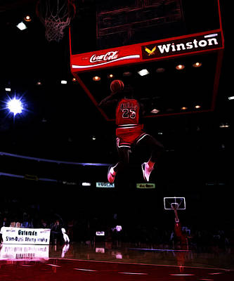 Scottie Pippen Painting - Air Jordan 1988 Slam Dunk Contest by Brian Reaves