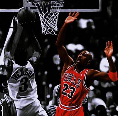 Utah Jazz Wall Art - Digital Art - Air Jordan And Allen Iverson by Brian Reaves