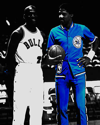 Air Jordan And Julius Erving Art Print by Brian Reaves