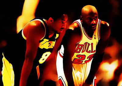 Air Jordan And Kobe Bryant 03c Art Print by Brian Reaves