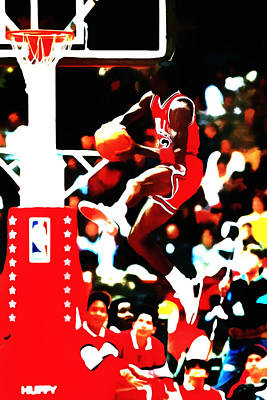 Carmelo Anthony Painting - Air Jordan In Flight 5b by Brian Reaves