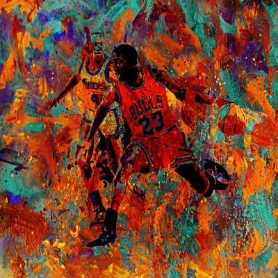 Patrick Ewing Painting - Air Jordan In The Paint 02a by Brian Reaves