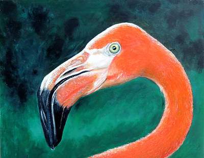 Flamingo Painting - Air Of Elegance Detail by Malcolm Regnard