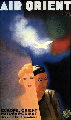 Airplane Mixed Media - Air Orient - France Airlines - Retro Travel Poster - Vintage Poster by Studio Grafiikka