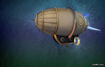 Digital Art - Airship In Flight by Ken Morris
