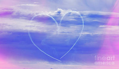 Photograph - Air Show Fight Path In Heart Shape by Charline Xia