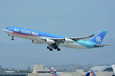 Print featuring the photograph Air Tahiti Nui Airbus A340-313x F-osea Los Angeles International Airport May 3 2016 by Brian Lockett