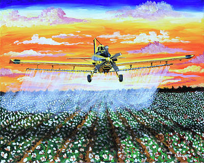 Painting - Air Tractor At Sunset Over Cotton by Karl Wagner