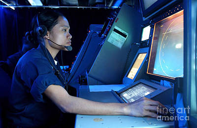 Side Panel Photograph - Air Traffic Controller Monitors Marine by Stocktrek Images