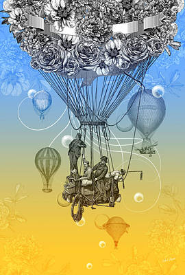 Balloon Flower Drawing - Air Travel by Denys Golemenkov