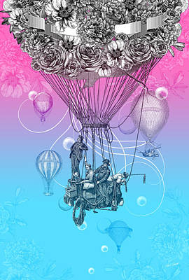 Balloon Flower Drawing - Air Travellers by Denys Golemenkov